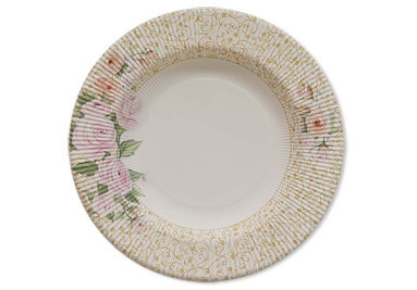 Piatti di carta a righe Rose Flower