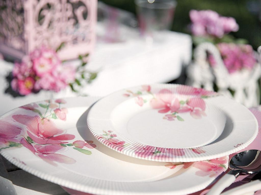 Piatti di carta a righe fiore rosa